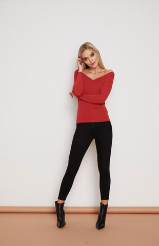 Fitted Wrap Bardot Knit Top - Burnt Rose