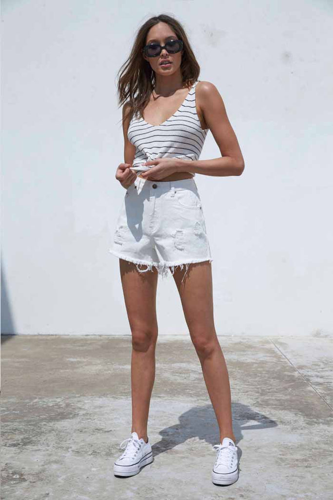 Trashed White Micro Shorts
