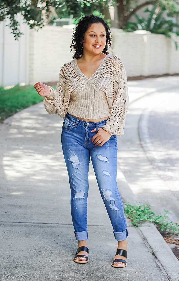 The Paige Pointelle Knit Top