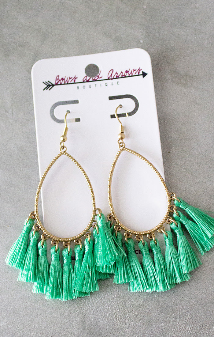 Mint Teardrop Tassel Earrings (4440781652016)