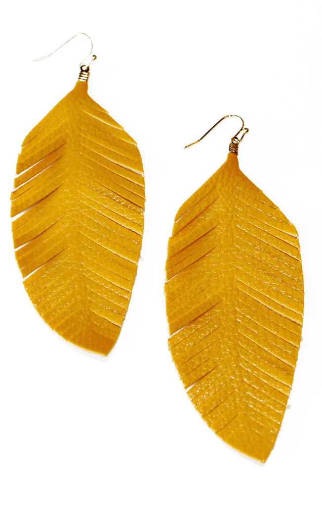 Mustard Faux Leather Feather Earrings