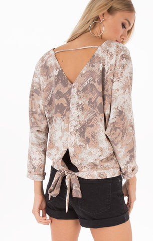 Natalie Dusty Peach Open Back Blouse