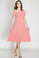 Nautical Off Shoulder Striped Midi Dress - Red Dress She & Sky - Bows and Arrows FSU Seminoles and UF Gators Women's Game Day Dresses and Apparel