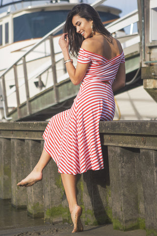 Nautical Off Shoulder Striped Midi Dress - Red