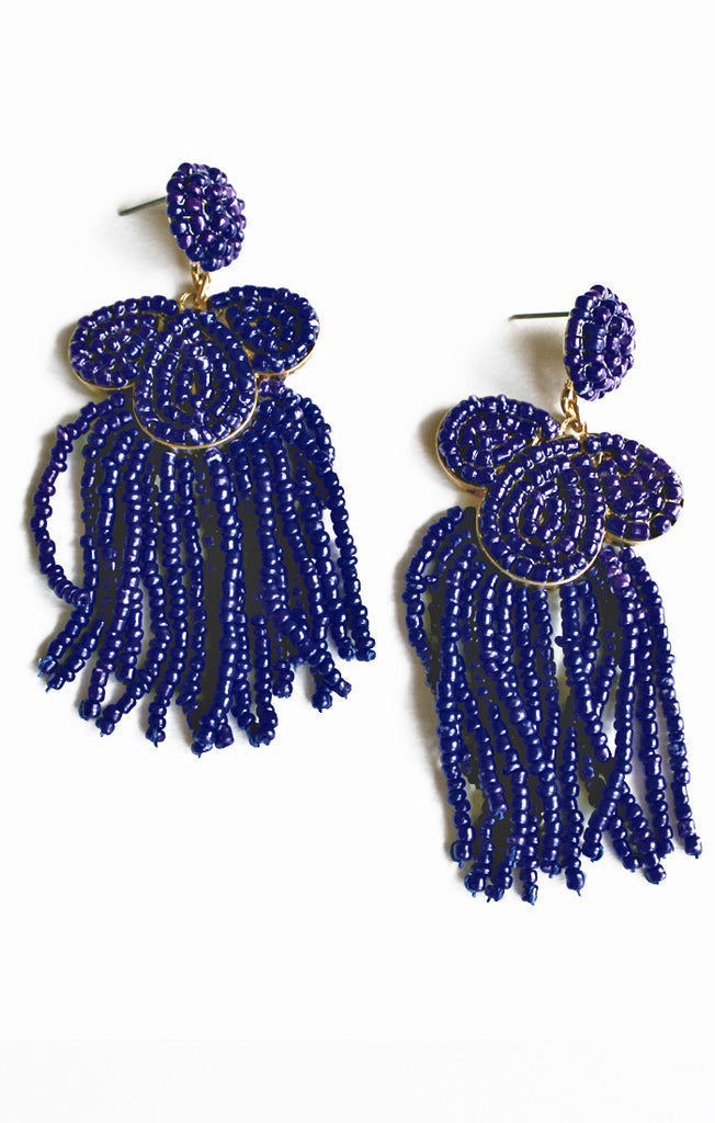 Navy Seed Bead & Tassel Earrings