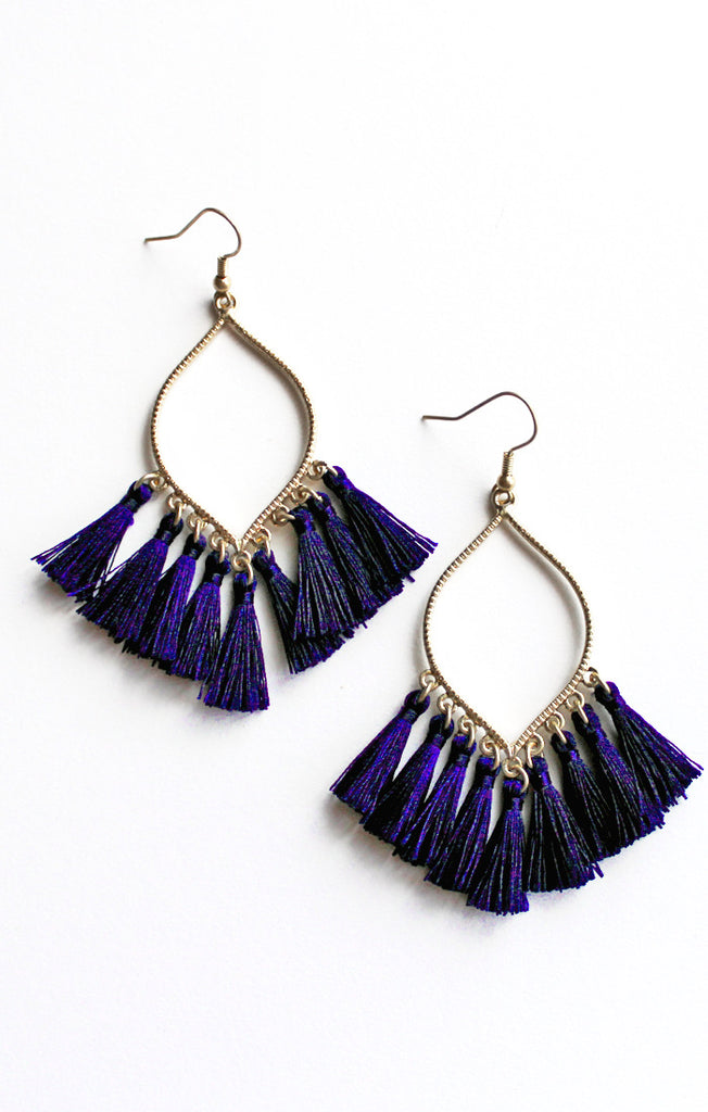 Navy Marquise Tassel Earrings