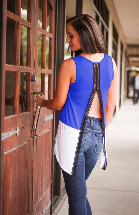Gators Colorblock Open Back Tank Tank Game Day Couture - Bows and Arrows FSU Seminoles and UF Gators Women's Game Day Dresses and Apparel
