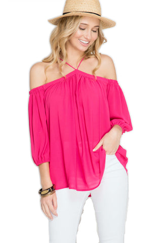 Off Shoulder Fuchsia Halter Top Off Shoulder Top She & Sky - Bows and Arrows FSU Seminoles and UF Gators Women's Game Day Dresses and Apparel