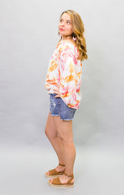 The Pink Palm Off the Shoulder Top (4452330045488)