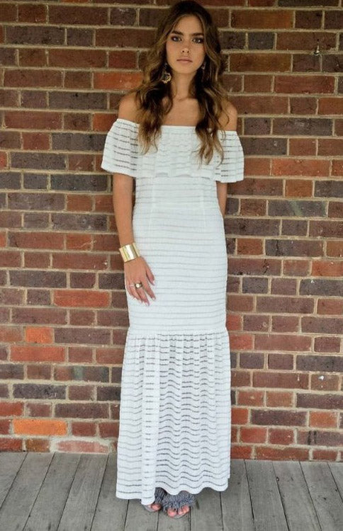 Off Shoulder White Maxi Dress