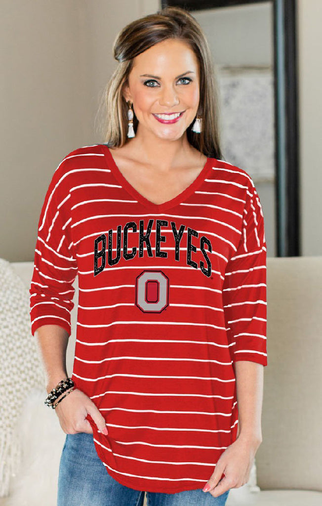Ohio State Fall in Love Stripe V-Neck Top