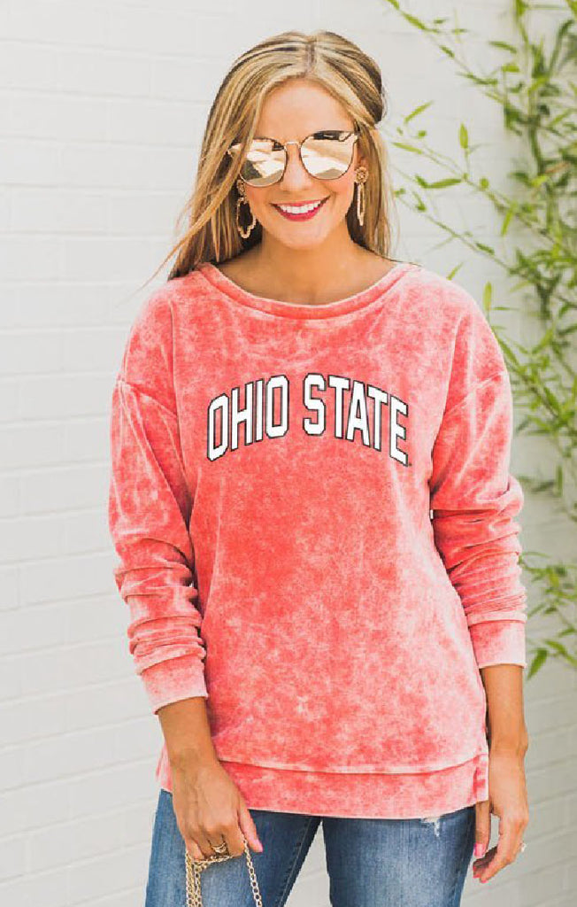 Ohio State Now and Zen Vintage Velour Pullover