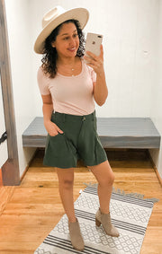 The Button Front High Waisted Waist Short (Olive)