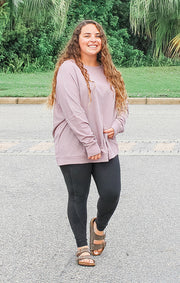 The Waffle Oversized Pullover (Dusty Pink)