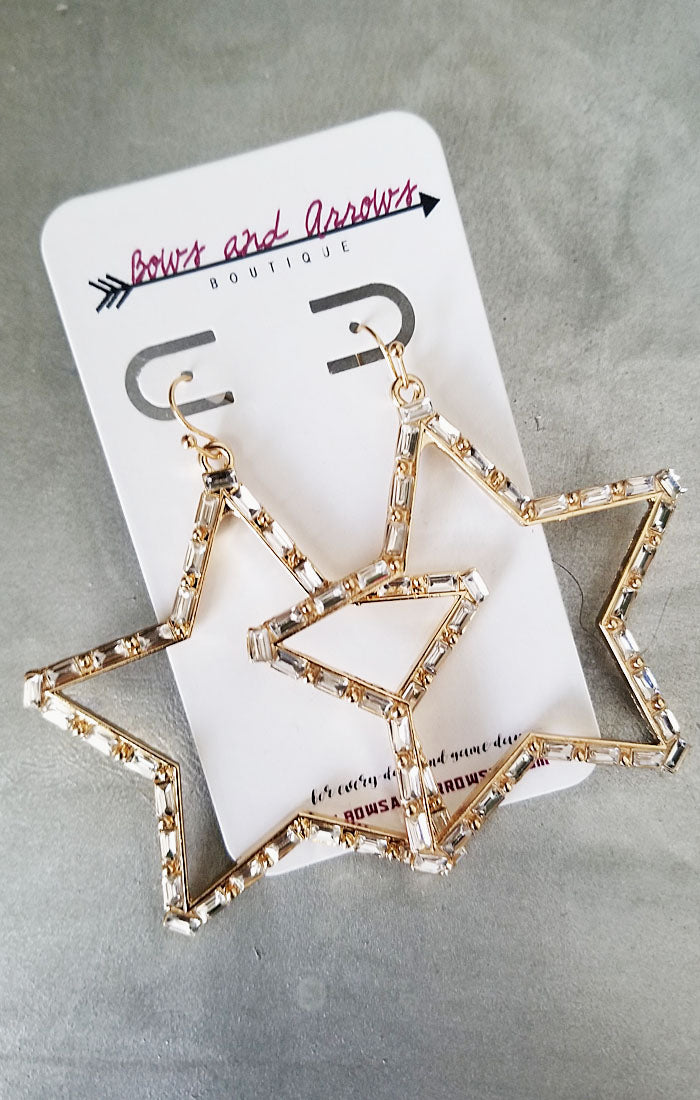 The Baguette Bead Star Earrings (4327578271792)