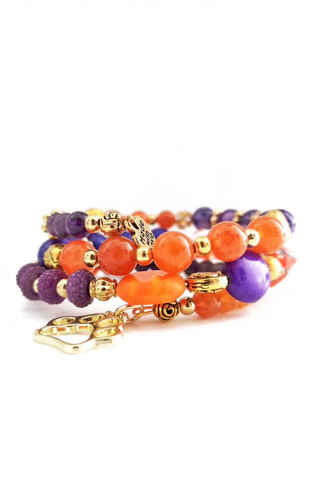 Orange and Purple Wire Wrapped Bracelet