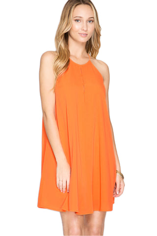 Orange High Neck Game Day Dress