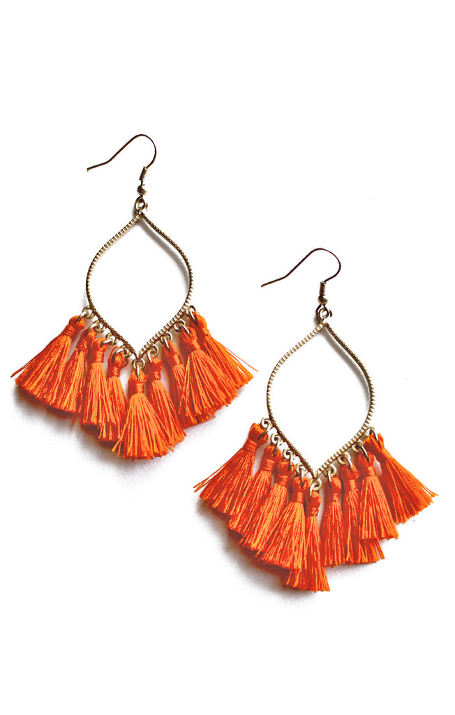Orange Marquise Tassel Earrings