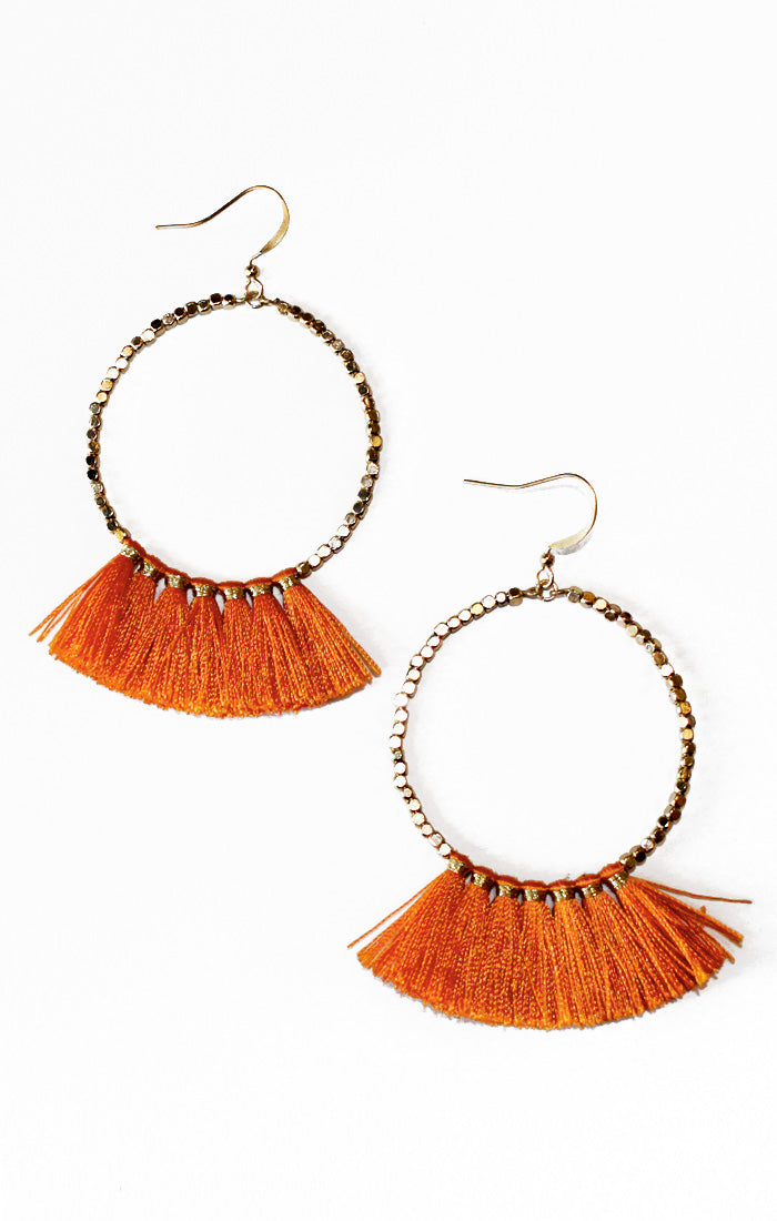 Orange Beaded Tassel Earrings (3811997253680)