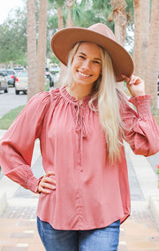 The Blush Swiss Dot Blouse