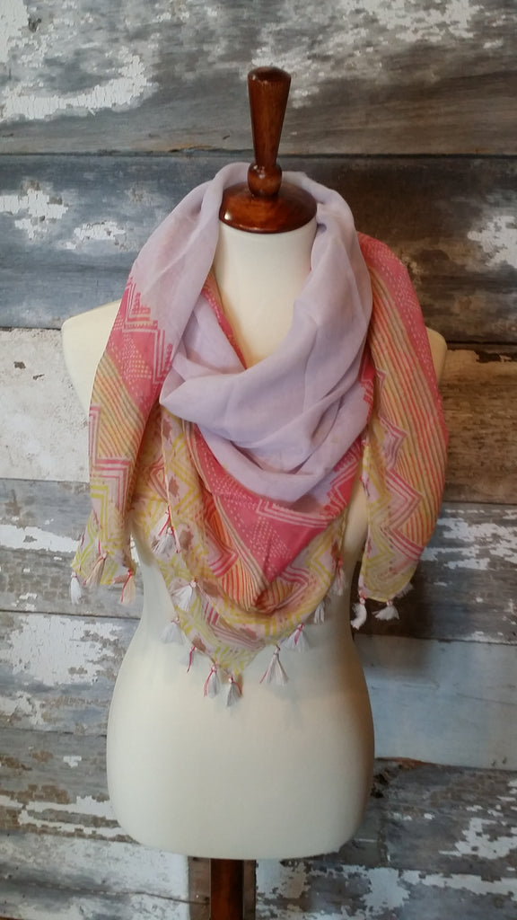 Pink Pastel Pom-Pom Print Scarf scarf Bows and Arrows Co LLC - Bows and Arrows FSU Seminoles and UF Gators Women's Game Day Dresses and Apparel