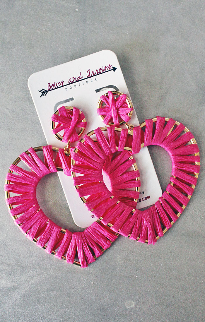 Pink Heart Dangle Earrings (4353575682096)