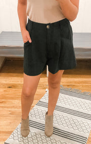 The Button Front High Waisted Shorts (Black)