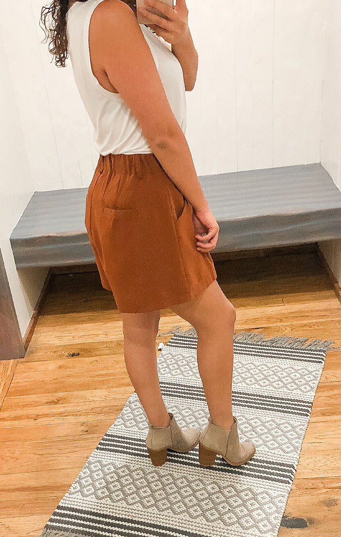 The Button Front High Waisted Shorts (Camel)
