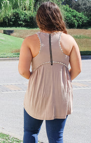 The Sweet and Simple Babydoll Tank (Beige)