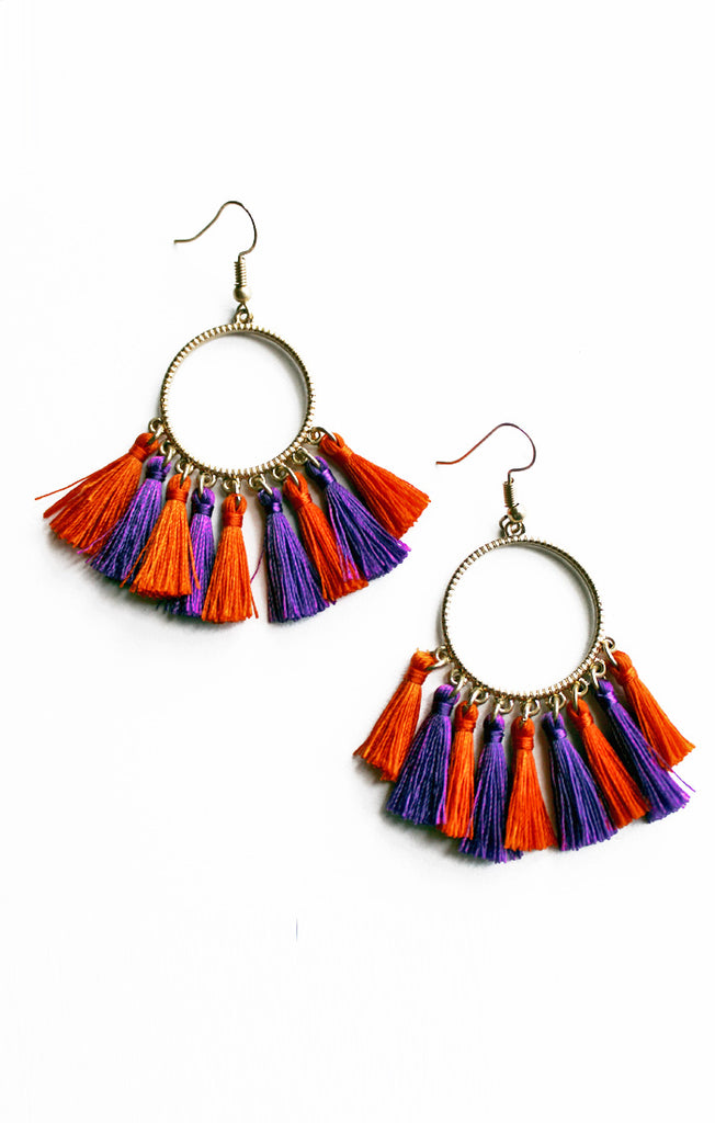 Orange and Purple Tassel Earrings