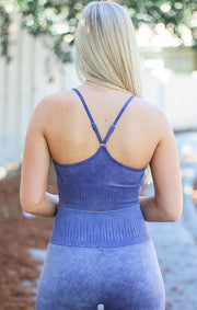 The Mineral Wash Seamless Sports Bra (Indigo)