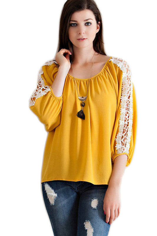 Gold Crochet Sleeve Peasant Top