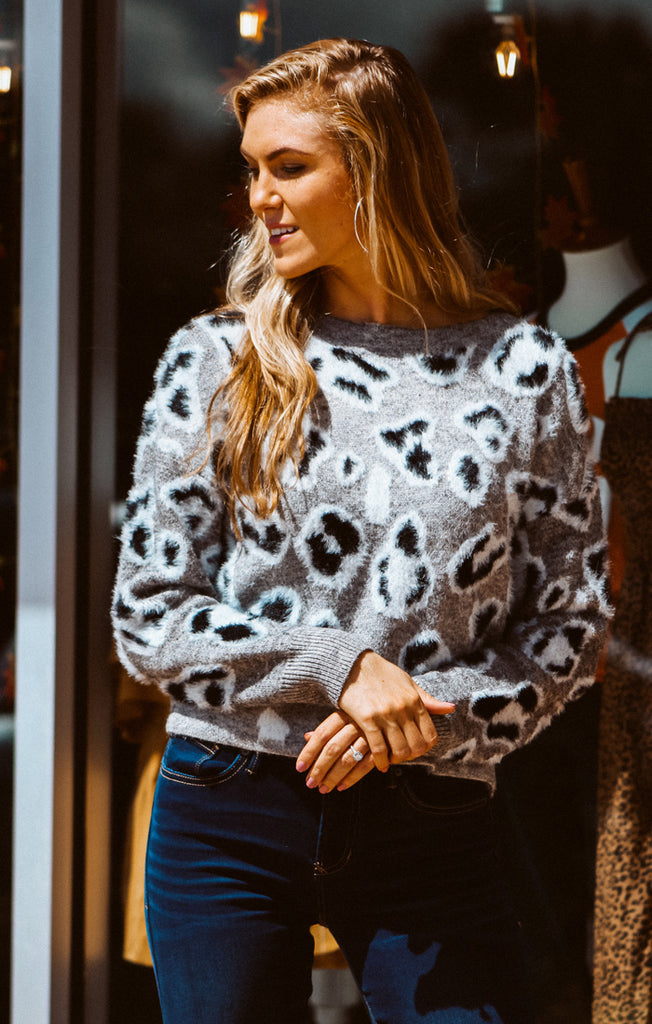 The Black & Grey Leopard Fuzzy Sweater