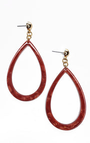 The Red Acrylic Teardrop Earrings