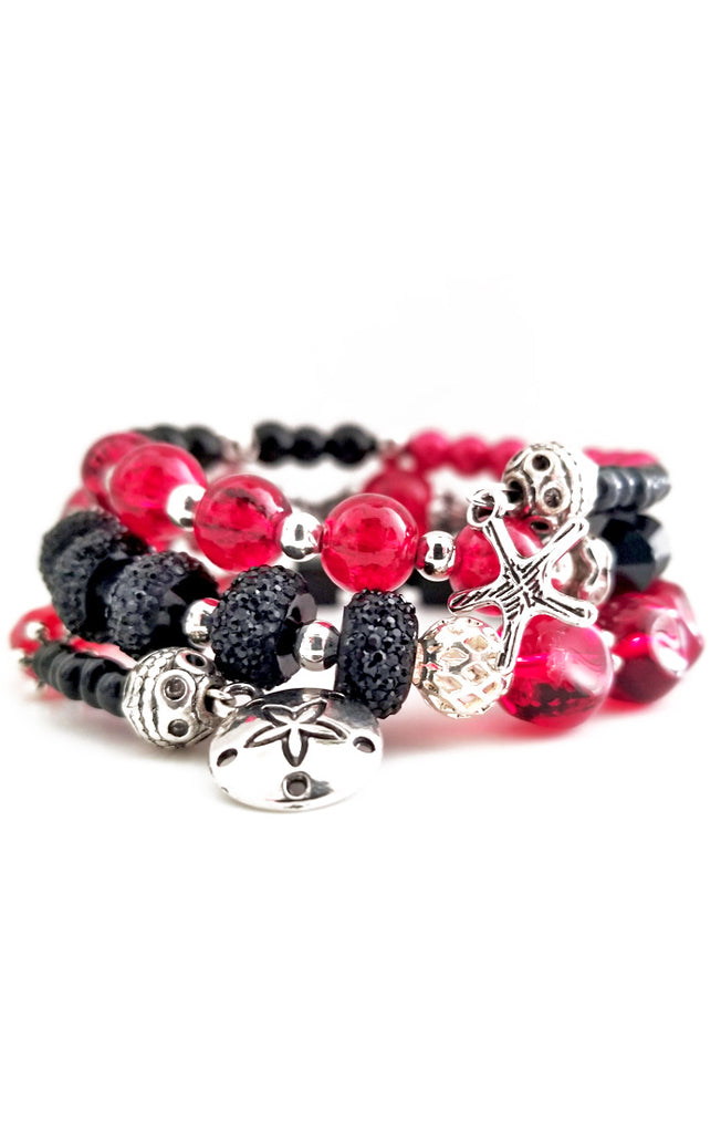 Red and Black Wire Wrapped Bracelet