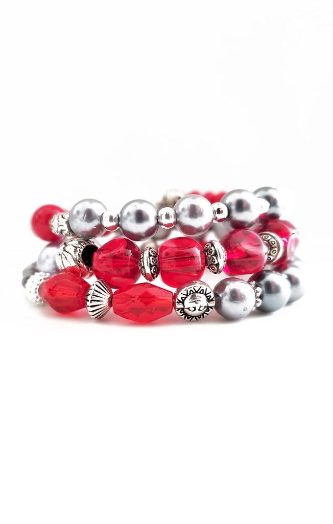 Red and Silver Wire Wrapped Bracelet