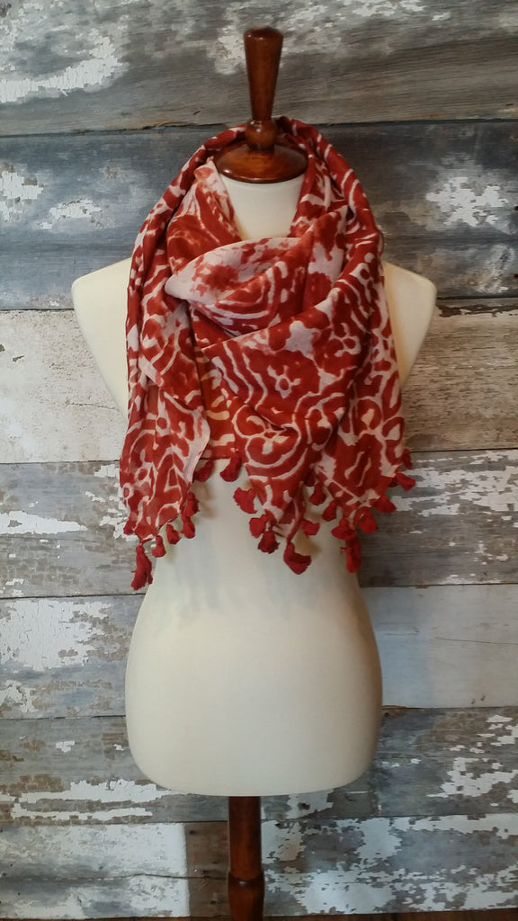 Red Floral & Tassel Scarf Scarf Bows and Arrows Co LLC - Bows and Arrows FSU Seminoles and UF Gators Women's Game Day Dresses and Apparel