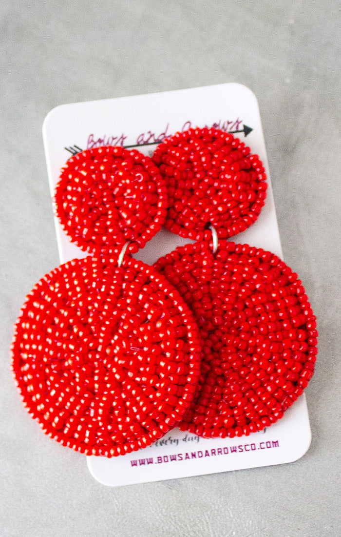 Red Seed Bead Circle Earrings - Red