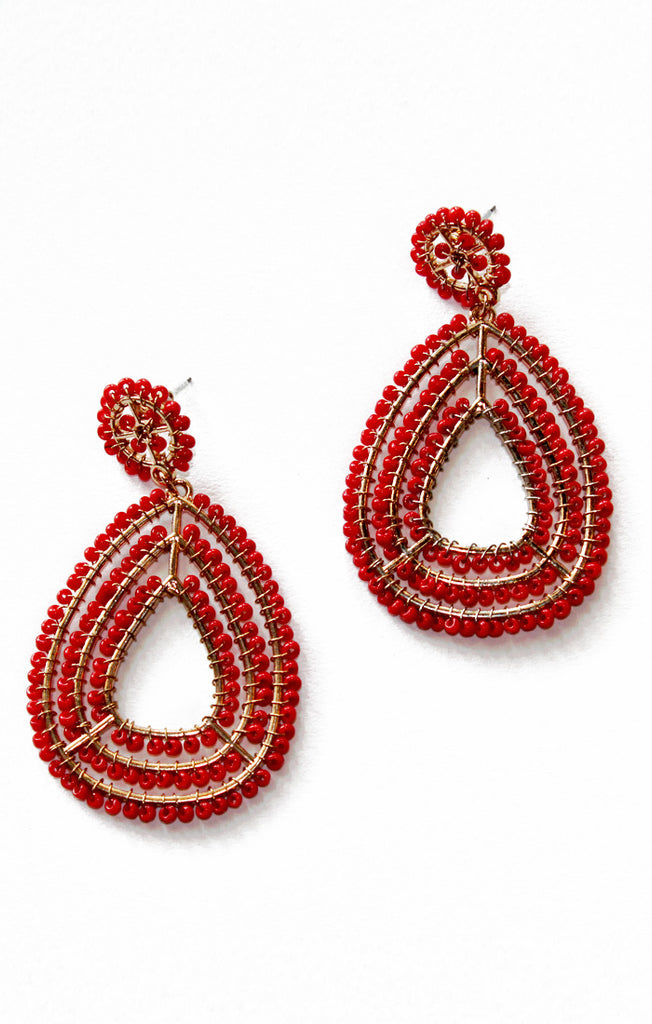 Red Teardrop Seed Bead Earrings