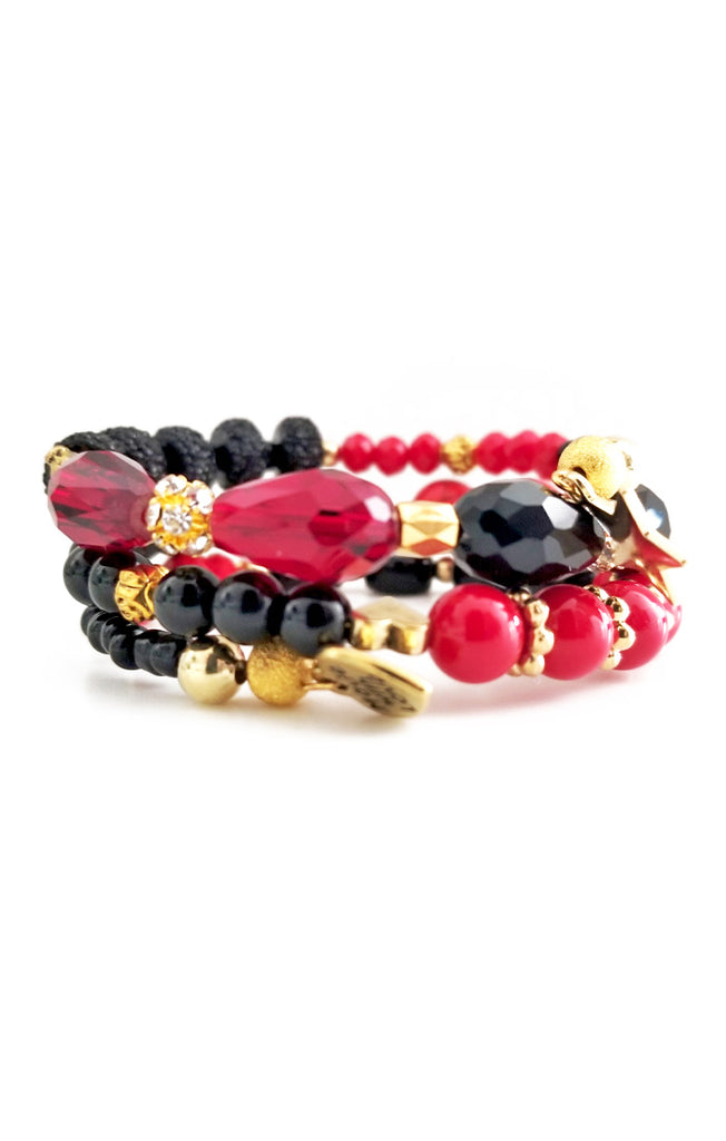 Red, Gold, and Black Wire Wrapped Bracelet