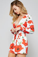 Red Floral Deep V Romper Romper Promesa - Bows and Arrows FSU Seminoles and UF Gators Women's Game Day Dresses and Apparel