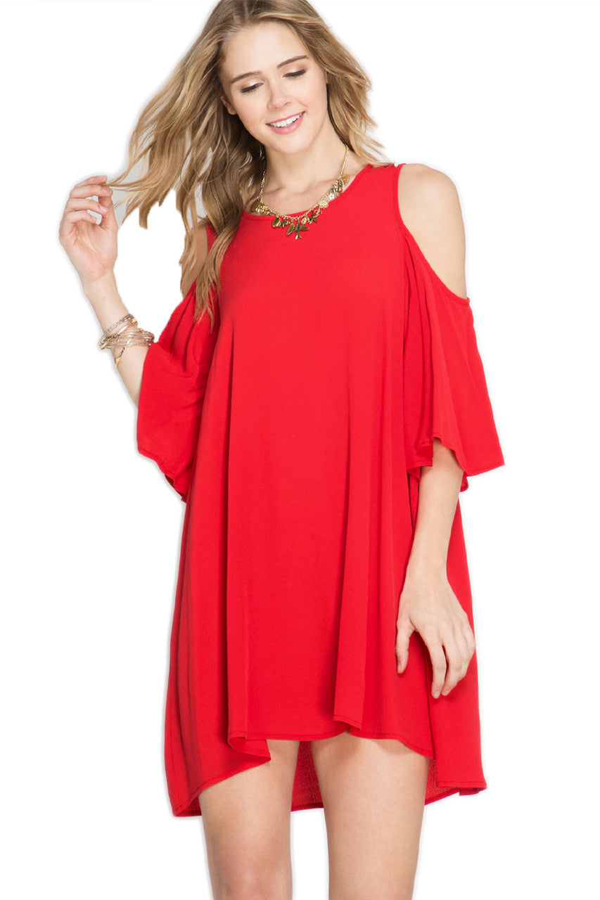 Cold Shoulder Shift Dress - Red Dress She & Sky - Bows and Arrows FSU Seminoles and UF Gators Women's Game Day Dresses and Apparel