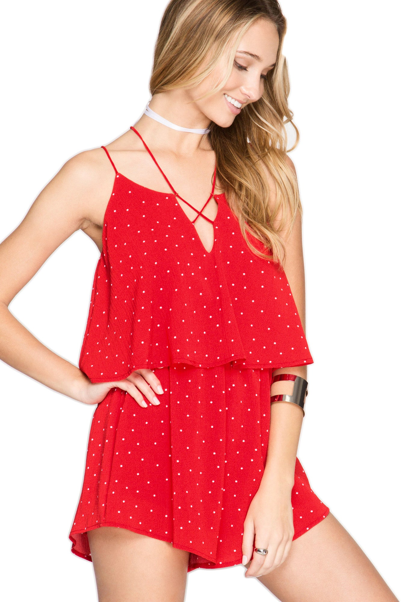 Red Hot Polka Dot Romper Romper She & Sky - Bows and Arrows FSU Seminoles and UF Gators Women's Game Day Dresses and Apparel
