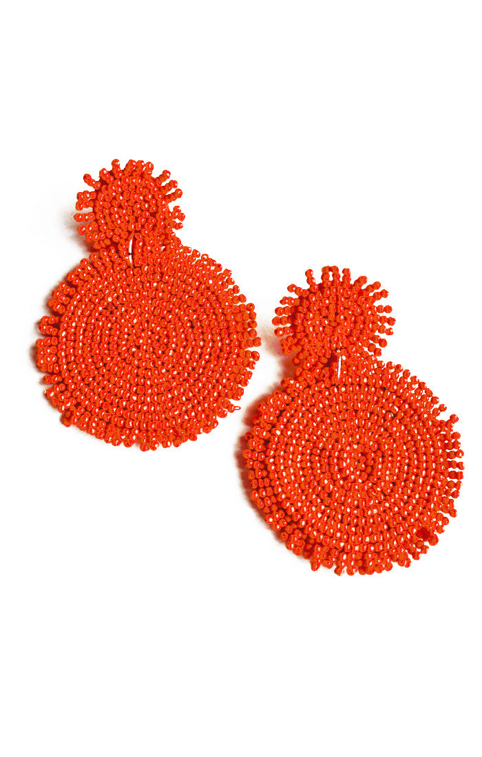 Red Beaded Disk Earrings (3902933532720)