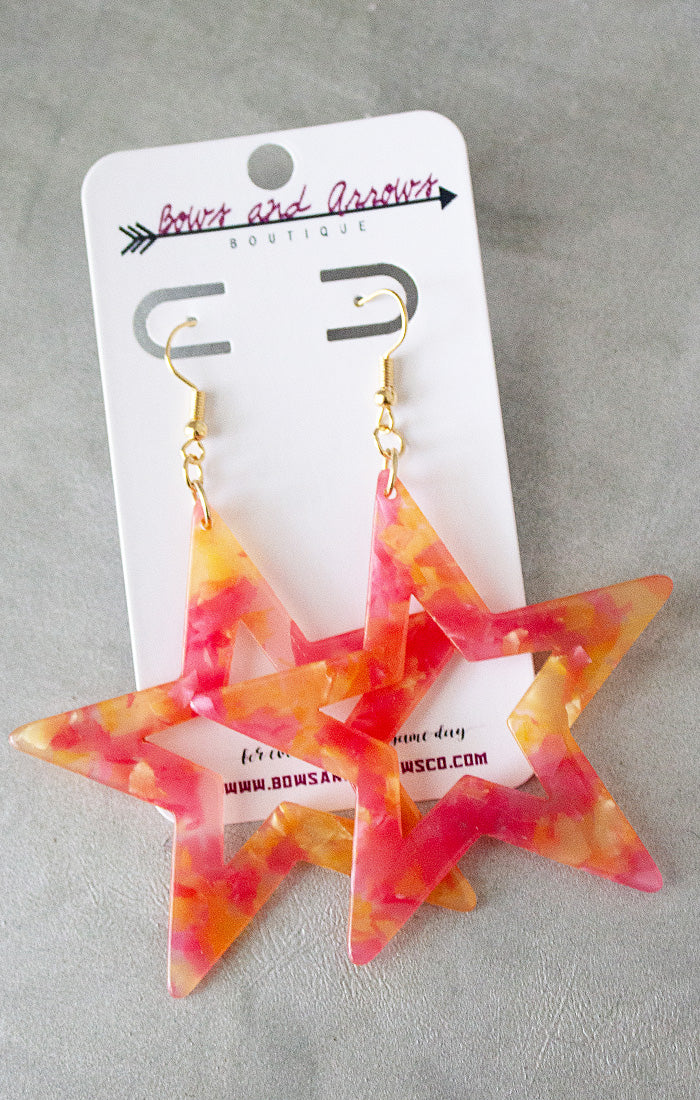 Red Acrylic Star Earrings (4440783749168)
