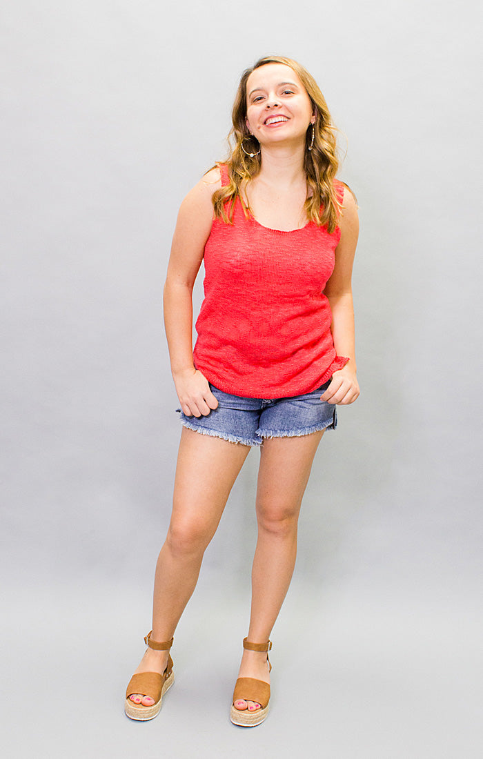 The Seaside Sweater Tank - Red (4447028510768)