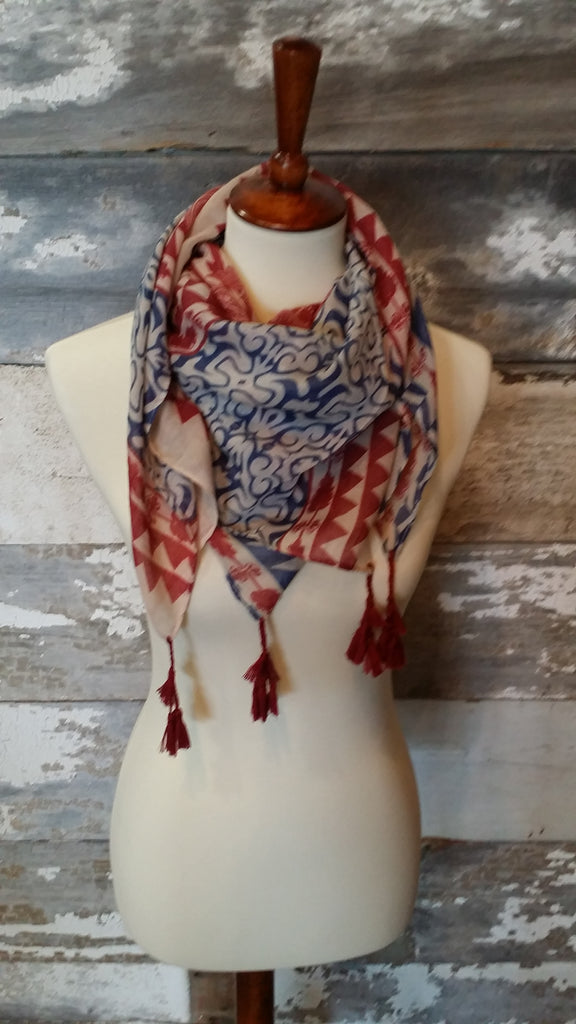 Red, White, and Blue Print Pom-Pom Scarf Scarf Bows and Arrows Co LLC - Bows and Arrows FSU Seminoles and UF Gators Women's Game Day Dresses and Apparel
