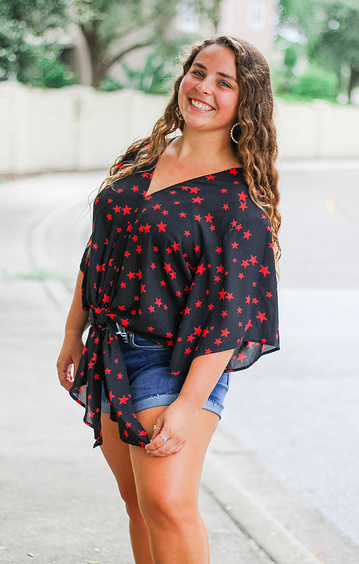The Stars Black & Red Tie Front Top