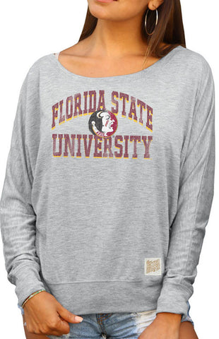 Florida State University Boatneck Dolman Crew Tee Retro Brand - Bows and Arrows FSU Seminoles and UF Gators Women's Game Day Dresses and Apparel