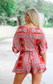 The Rio Red Belted Romper